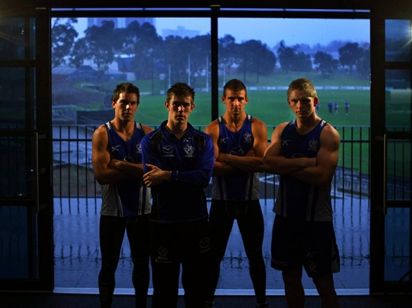 North Melbourne s young midfielders, left to right, Levi Greenwood, Ryan Bastinac, Ben Cunnington, Jack Ziebell   - Photograph By Craig Sillitoe/The Sunday Age