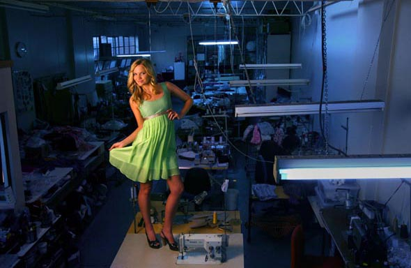 Model Ally Parry in an Amar dress in the factory where the dress was made  Photograph By Craig Sillitoe/The Sunday Age