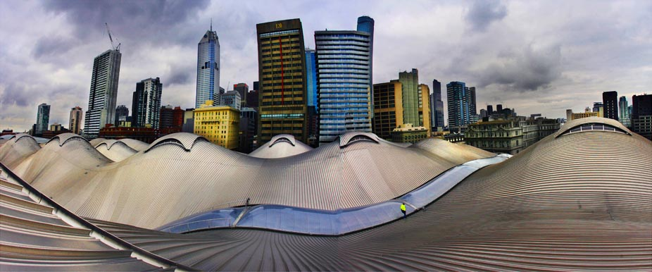Southern Cross Station roof and skyline.  Photograph By Craig Sillitoe/The Sunday Age