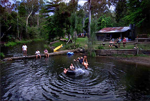 Victoria in the holiday season. Holiday makers at a hut at their secret location on the Howqua River. Photograph By Craig Sillitoe/The Sunday Age