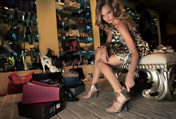 Model dressed 'a-la Sex and the City' style at Miss Louise shoe store Melb. - Photograph By Craig Sillitoe/The Sunday Age
