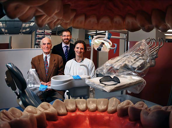 The Royal Dental Hospital of Melbourne will be turning 120 this Sunday. in the teaching area are (left to right), Prof Henry Atkinson, Dr Nathan Chochrane and Dr Sophie Beaumont - Photograph By Craig Sillitoe
