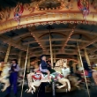 Picture By Craig Sillitoe.  Elwood Primary School students try out the newly restored carousel at Luna Park, restoration cost $2.2m and took 2 years