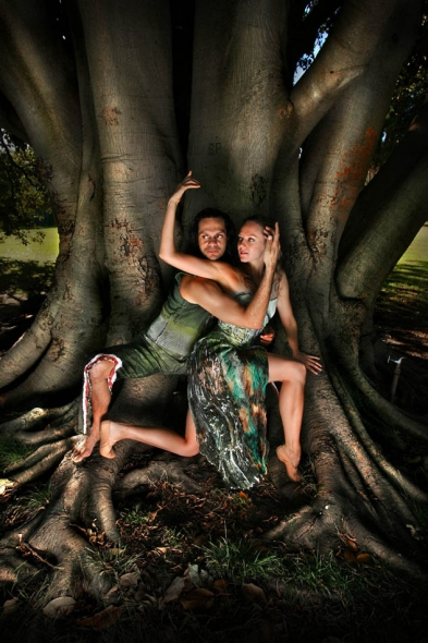 Annabel Bronner Reid from the Australian Ballet and Sidney Saltner from Bangarra indigenous dance comapny, the two groups have come together to create a performance called  Amalgamate , inspired by the comming together of coast and rainforest.  Photograph By Craig Sillitoe/The Sunday Age
