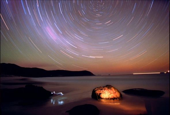 Star Trail Photo at Wilsons Promontory's Sqeaky Beach. Pic By Craig Sillitoe/The Sunday Age