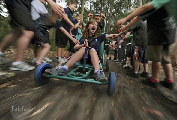 King lake student Elise Davey tests the pushcart entered  into the energy breakthrough.  . 16th  of November  2009 The Age news Picture by JOE ARMAO