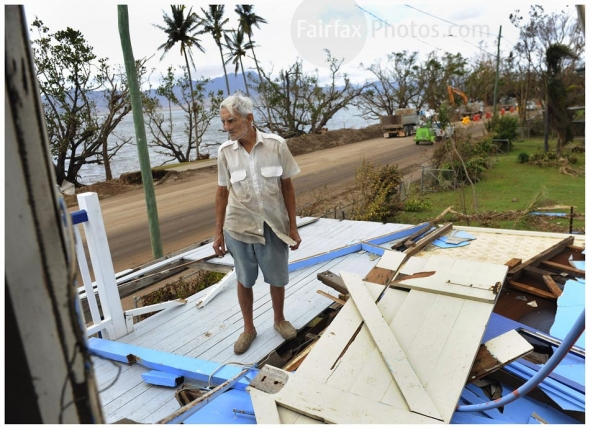 Cardwell resident Theo Chrisohos will need to be demolished after receiving damage by Cyclone Yasi .Mr Chrisohos has experienced 4 cyclones and this was the worst by far. He took refuge in an upstairs toilet during the storm. Sunday 6 February 2011 Picture by Craig Abraham/TheAge