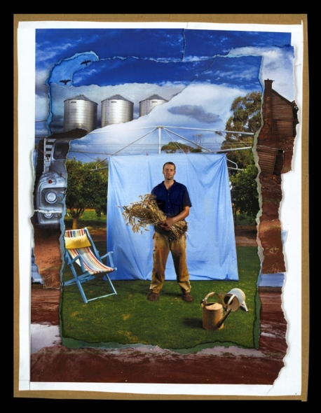 A backyard is constantly changing, a space of time and moments. These montages have been built up to relfect the objects and people that make up a history of their backyard. Image of grain farmer David Jockinke from Horsham standing in front of the hill's hoist on his lush green grass. Behind is the many objects that make up the rest of his farm. Photographic montage By Simon O'Dwyer/The Sunday Age