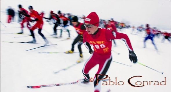 © Paul Conrad/Pablo Conrad PhotographyNoah Hoffman of Aspen, Colo., bolts out of the start area on his way to a 2nd place victory during the state cross country ski quailifers at Aspen High School.