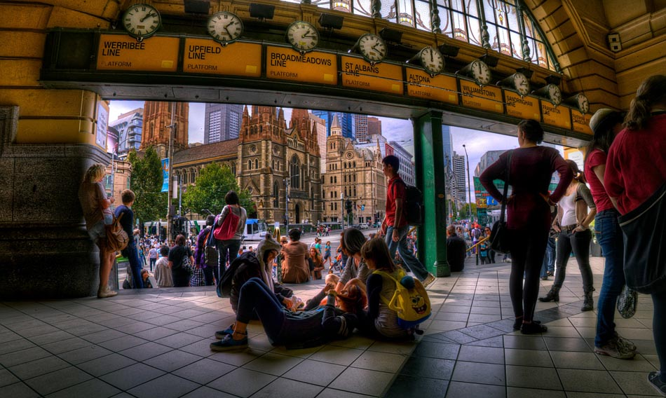 Flinders Street Station, inside under the clocks. Melbourne in HDR (High Dynamic Range), for The Age iPad App. Pic By Craig Sillitoe CSZ/The Sunday Age 29/5/2011