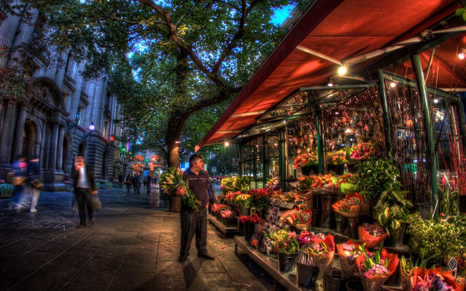 Flower stall outside Melbourne Town Hall. Melbourne in HDR (High Dynamic Range), for The Age iPad App. Pic By Craig Sillitoe CSZ/The Sunday Age 29/5/2011